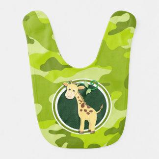 Giraffe bright green camo camouflage baby bibs