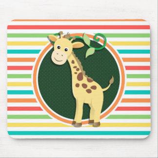 Giraffe Bright Rainbow Stripes Mouse Pad