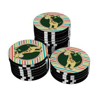 Giraffe; Bright Rainbow Stripes Set Of Poker Chips