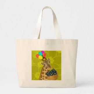 Giraffe brings congratulations. large tote bag