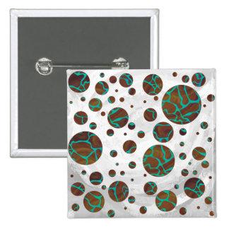 Giraffe Brown and Teal Print 15 Cm Square Badge