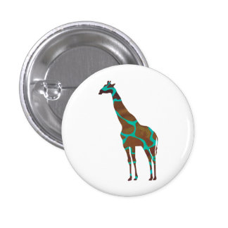 Giraffe Brown and Teal Print 3 Cm Round Badge
