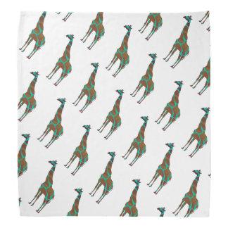 Giraffe Brown and Teal Print Bandana
