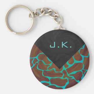 Giraffe Brown and Teal Print Basic Round Button Key Ring