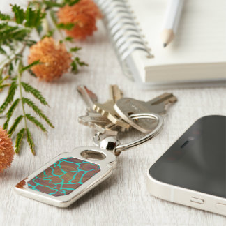 Giraffe Brown and Teal Print Silver-Colored Rectangle Key Ring