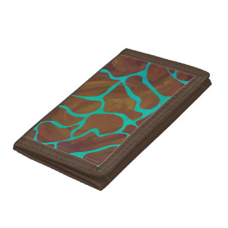 Giraffe Brown and Teal Print Tri-fold Wallet