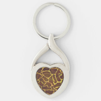 Giraffe Brown and Yellow Print Silver-Colored Heart-Shaped Metal Keychain