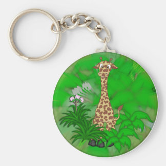 Giraffe-brown Basic Round Button Key Ring
