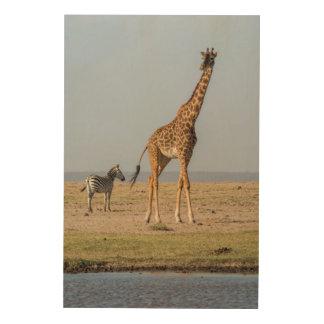 Giraffe by a Waterhole Wood Wall Art