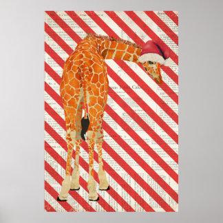 Giraffe Candy Cane Christmas Art Poster
