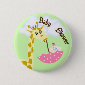 Giraffe Carrying Umbrella Baby Shower Invitation 6 Cm Round Badge