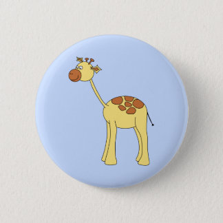 Giraffe Cartoon. 6 Cm Round Badge
