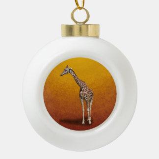 GIRAFFE CERAMIC BALL CHRISTMAS ORNAMENT