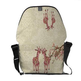 Giraffe Cherry Blossom Messenger Bag