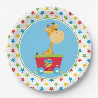 Giraffe | Circus Train | Circus Theme 9 Inch Paper Plate