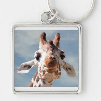 Giraffe Close with Blue Sky Key Chains