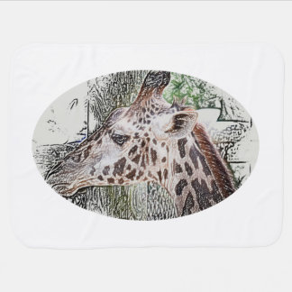 giraffe colored pencil style animal jungle sketch pramblankets
