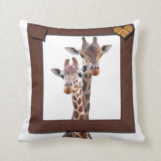 Giraffe Couple Framed in Love Cushion