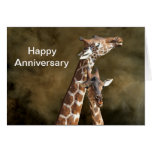 Giraffe Couple Snuggle Personalised Anniversary Ca Greeting Card