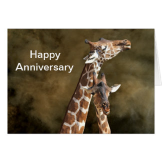 Giraffe Couple Snuggle Personalized Anniversary Ca Greeting Card