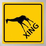 Giraffe Crossing Highway Sign Poster
