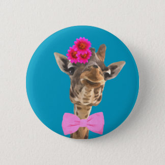Giraffe cute and funny jungle animal 6 cm round badge
