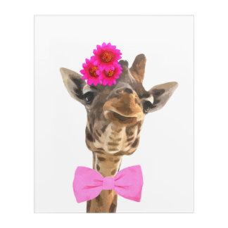 Giraffe cute funny jungle animal watercolor acrylic wall art