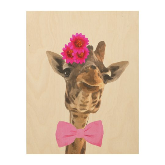 Giraffe cute funny jungle animal watercolor wood wall