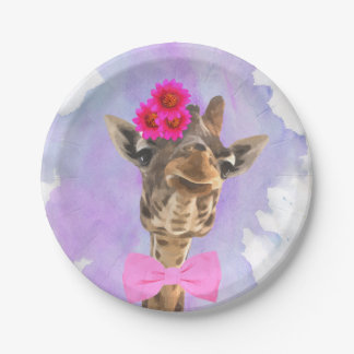 Giraffe cute funny wild jungle animal watercolor paper plate