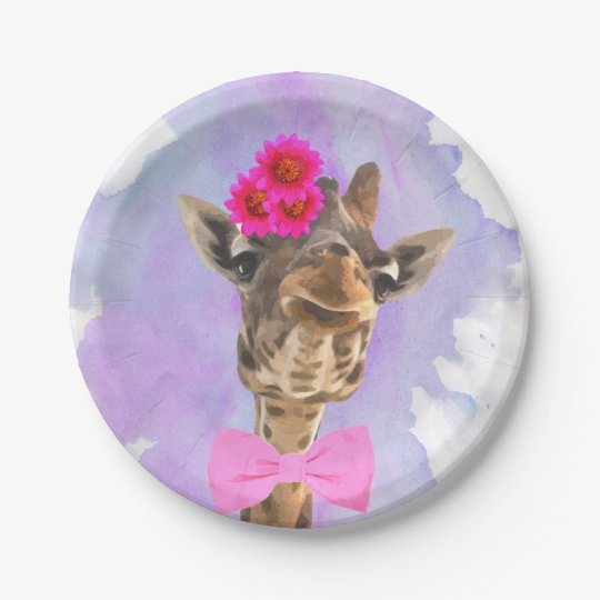 Giraffe cute funny wild jungle animal watercolor paper