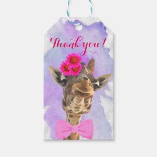 Giraffe cute safari animal watercolor thank you gift tags