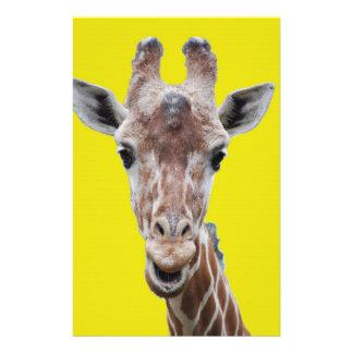 giraffe cutout yellow stationery
