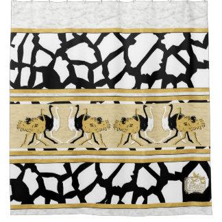 Giraffe Decorative Ostriches Clouds Shower Curtain