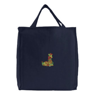 Giraffe Embroidered Tote Bag