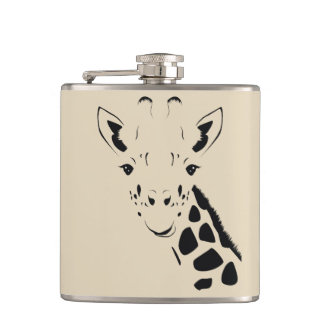 Giraffe Face Silhouette Hip Flask