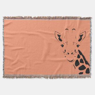 Giraffe Face Silhouette Throw Blanket