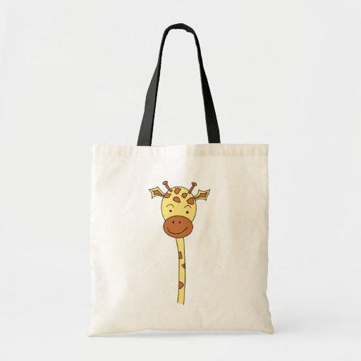 Giraffe Facing Forwards. Cartoon. Tote Bags