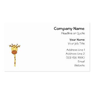 Giraffe Facing Forwards. Cartoon. Business Card