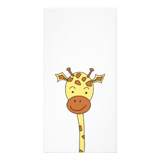 Giraffe Facing Forwards. Cartoon. Card