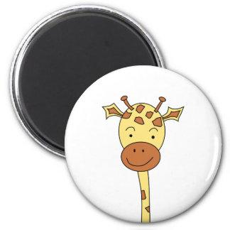 Giraffe Facing Forwards. Cartoon. 6 Cm Round Magnet