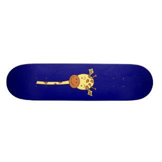 Giraffe Facing Forwards. Cartoon. Skate Board