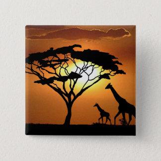 giraffe family 15 cm square badge