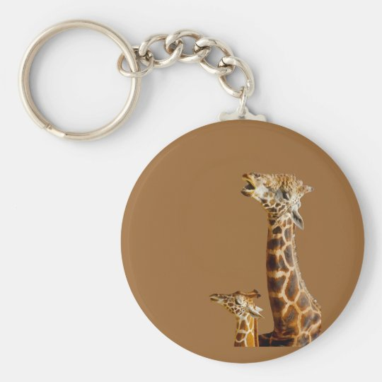 Giraffe Family Gift Basic Round Button Key Ring
