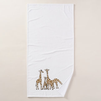 Giraffe Family In Brown and Beige Bath Towel