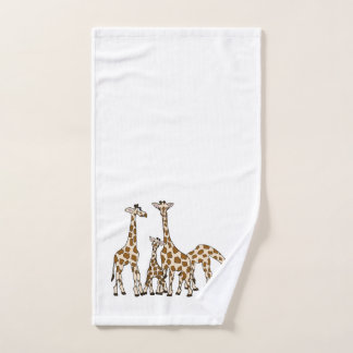 Giraffe Family In Brown and Beige Hand Towel