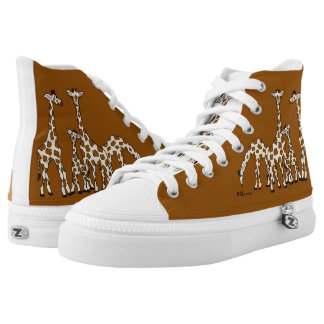 Giraffe Family In Brown and Beige High Top Sneaker Printed Shoes