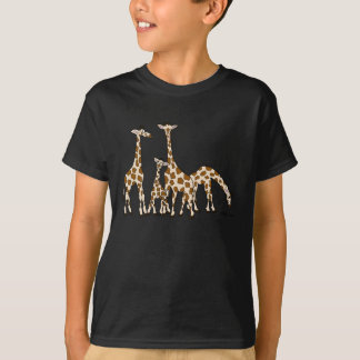 Giraffe Family In Brown and Beige Kid's Tshirt