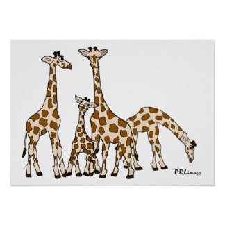 Giraffe Family In Brown and Beige Poster