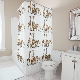 Giraffe Family In Brown and Beige Shower Curtain