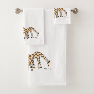 Giraffe Family In Brown and Beige Towel Set